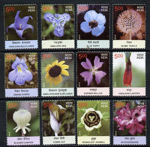 India 2013 Postal Union Congress - Wild Flowers complete set of 12 unmounted mint