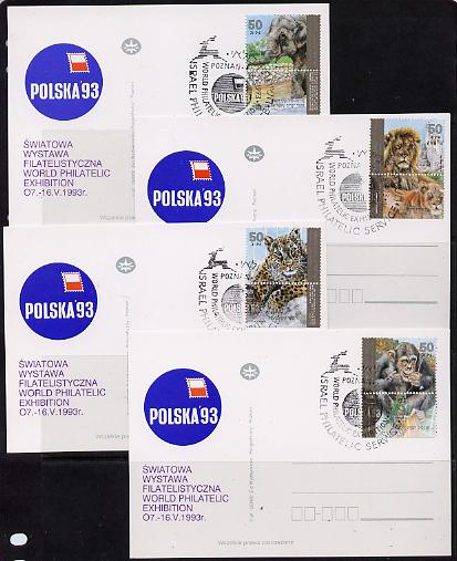 Israel 1992 Zoo Animals set of 4 each with tabs on individual Polska 93 Stamp Exhibition postcard with special cancel