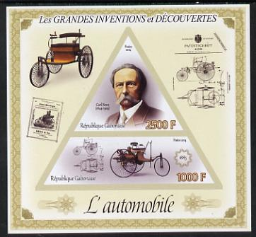 Gabon 2014 Great Inventions & Discoveries - Cars imperf sheetlet containing two values (triangular & trapezoidal shaped) unmounted mint