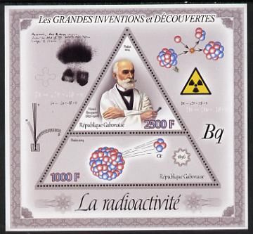 Gabon 2014 Great Inventions & Discoveries - Radioactivity perf sheetlet containing two values (triangular & trapezoidal shaped) unmounted mint