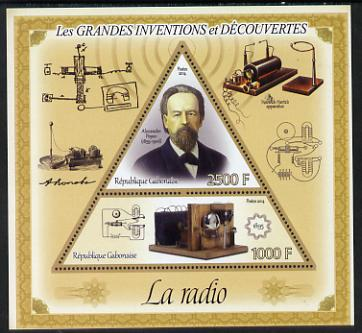 Gabon 2014 Great Inventions & Discoveries - Radio perf sheetlet containing two values (triangular & trapezoidal shaped) unmounted mint