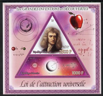 Gabon 2014 Great Inventions & Discoveries - Newton's Law of Universal Attraction perf sheetlet containing two values (triangular & trapezoidal shaped) unmounted mint