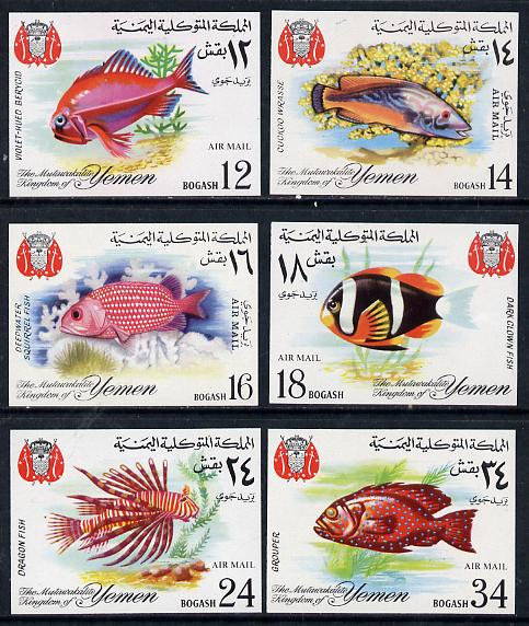 Yemen - Royalist 1967 Fish 'Air Mail' imperf set of 6 unmounted mint (as SG R224-29) Mi 397-402B