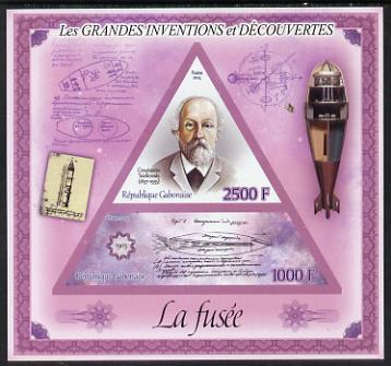 Gabon 2014 Great Inventions & Discoveries - The Rocket imperf sheetlet containing two values (triangular & trapezoidal shaped) unmounted mint