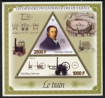 Gabon 2014 Great Inventions & Discoveries - Railway Locomotive perf sheetlet containing two values (triangular & trapezoidal shaped) unmounted mint