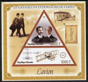 Gabon 2014 Great Inventions & Discoveries - The Wright Brothers & the Aeroplane perf sheetlet containing two values (triangular & trapezoidal shaped) unmounted mint