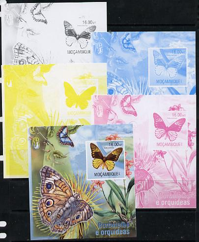 Mozambique 2013 Butterflies #1 - the set of 5 imperf progressive proofs comprising the 4 individual colours plus all 4-colour composite, unmounted mint