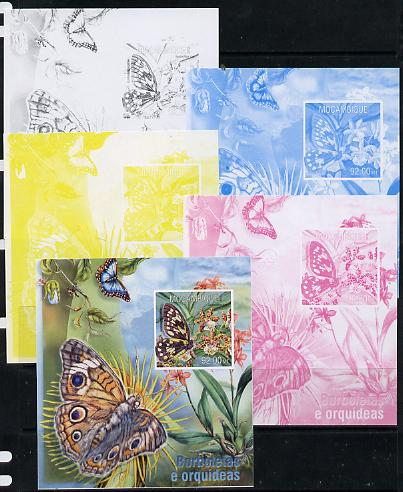 Mozambique 2013 Butterflies #3 - the set of 5 imperf progressive proofs comprising the 4 individual colours plus all 4-colour composite, unmounted mint