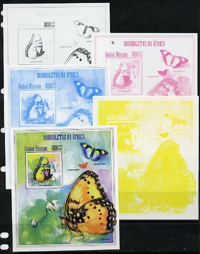 Guinea - Bissau 2013 Butterflies #10 - the set of 5 imperf progressive proofs comprising the 4 individual colours plus all 4-colour composite, unmounted mint