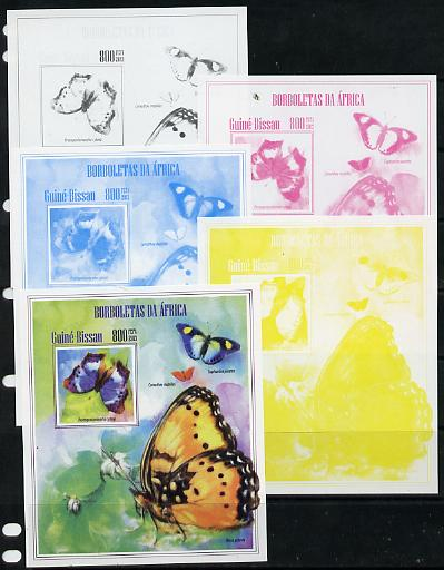 Guinea - Bissau 2013 Butterflies #11 - the set of 5 imperf progressive proofs comprising the 4 individual colours plus all 4-colour composite, unmounted mint