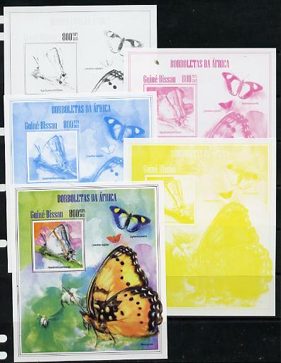 Guinea - Bissau 2013 Butterflies #12 - the set of 5 imperf progressive proofs comprising the 4 individual colours plus all 4-colour composite, unmounted mint