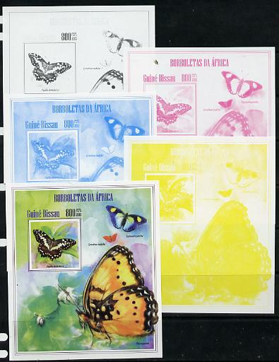 Guinea - Bissau 2013 Butterflies #13 - the set of 5 imperf progressive proofs comprising the 4 individual colours plus all 4-colour composite, unmounted mint