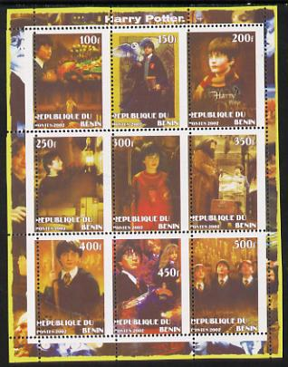 Benin 2002 Harry Potter perf sheetlet containing 9 values unmounted mint with vertical perforations slightly misplaced. Note this item is privately produced and is offere...