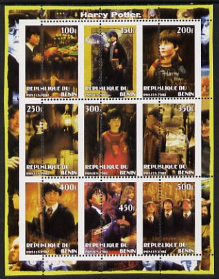 Benin 2002 Harry Potter perf sheetlet containing 9 values unmounted mint with vertical perforations dramatically misplaced by 10mm. Note this item is privately produced a...