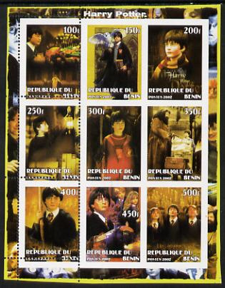 Benin 2002 Harry Potter perf sheetlet containing 9 values unmounted mint with first column only perforated. Note this item is privately produced and is offered purely on ...