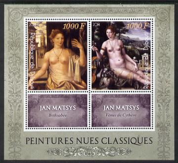 Djibouti 2014 Classical Nude Painters - Jan Matsys perf sheetlet containing two values plus two labels unmounted mint