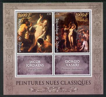 Djibouti 2014 Classical Nude Painters - Jordaens & Vasari perf sheetlet containing two values plus two labels unmounted mint