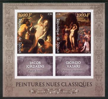 Djibouti 2014 Classical Nude Painters - Jordaens & Vasari imperf sheetlet containing two values plus two labels unmounted mint