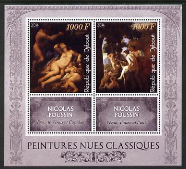 Djibouti 2014 Classical Nude Painters - Nicolas Poussin perf sheetlet containing two values plus two labels unmounted mint