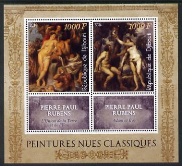 Djibouti 2014 Classical Nude Painters - Peter Paul Rubens perf sheetlet containing two values plus two labels unmounted mint