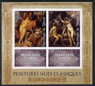 Djibouti 2014 Classical Nude Painters - Peter Paul Rubens imperf sheetlet containing two values plus two labels unmounted mint