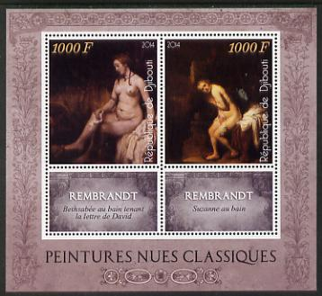 Djibouti 2014 Classical Nude Painters - Rembrandt perf sheetlet containing two values plus two labels unmounted mint