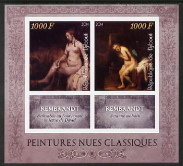 Djibouti 2014 Classical Nude Painters - Rembrandt imperf sheetlet containing two values plus two labels unmounted mint