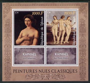 Djibouti 2014 Classical Nude Painters - Raphael perf sheetlet containing two values plus two labels unmounted mint