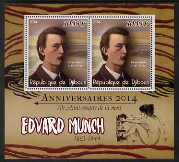 Djibouti 2014 Anniversaries - Edvard Munch perf sheetlet containing two values unmounted mint