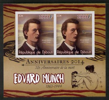 Djibouti 2014 Anniversaries - Edvard Munch imperf sheetlet containing two values unmounted mint