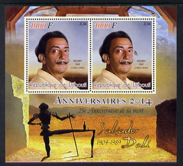 Djibouti 2014 Anniversaries - Salvador Dali perf sheetlet containing two values unmounted mint