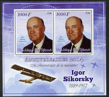 Djibouti 2014 Anniversaries - Igor Sikorsky perf sheetlet containing two values unmounted mint