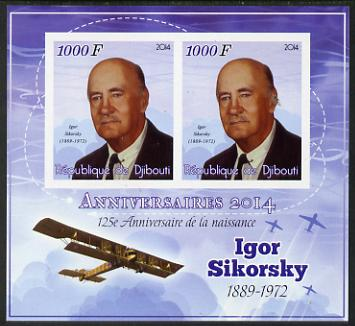 Djibouti 2014 Anniversaries - Igor Sikorsky imperf sheetlet containing two values unmounted mint