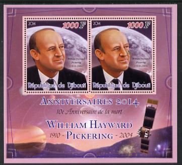 Djibouti 2014 Anniversaries - William Hayward Pickering perf sheetlet containing two values unmounted mint
