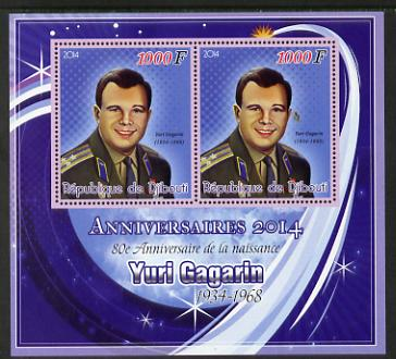 Djibouti 2014 Anniversaries - Yuri Gagarin perf sheetlet containing two values unmounted mint