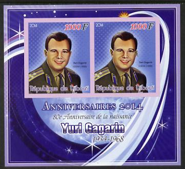 Djibouti 2014 Anniversaries - Yuri Gagarin imperf sheetlet containing two values unmounted mint