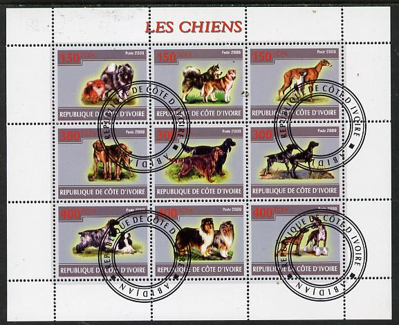 Ivory Coast 2009 Dogs perf sheetlet containing 9 values fine cto used