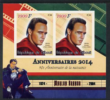 Djibouti 2014 Anniversaries - Marlon Brando imperf sheetlet containing two values unmounted mint
