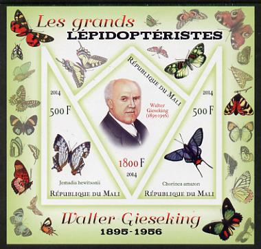 Mali 2014 Famous Lepidopterists & Butterflies - Walter Gieseking imperf sheetlet containing one diamond shaped & two triangular values unmounted mint