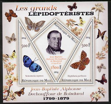 Mali 2014 Famous Lepidopterists & Butterflies - Jean-Baptiste Boisduval perf sheetlet containing one diamond shaped & two triangular values unmounted mint