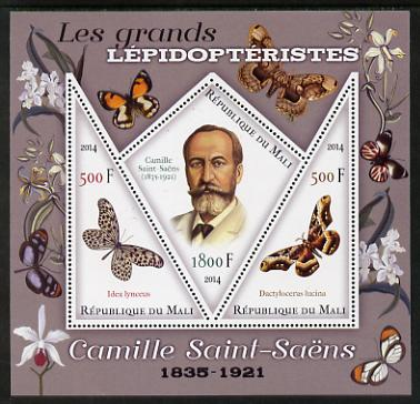 Mali 2014 Famous Lepidopterists & Butterflies - Camille Saint-Saens perf sheetlet containing one diamond shaped & two triangular values unmounted mint