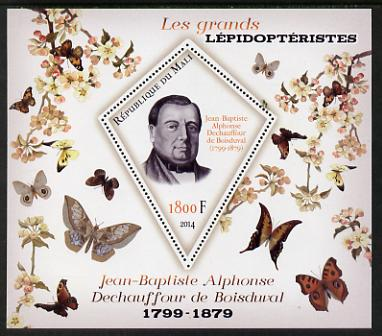Mali 2014 Famous Lepidopterists & Butterflies - Jean-Baptiste Boisduval perf s/sheet containing one diamond shaped value unmounted mint