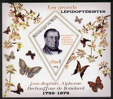 Mali 2014 Famous Lepidopterists & Butterflies - Jean-Baptiste Boisduval imperf s/sheet containing one diamond shaped value unmounted mint