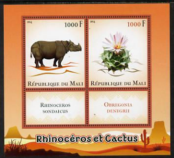 Mali 2014 Rhinos & Cactus perf sheetlet containing two values & two labels unmounted mint