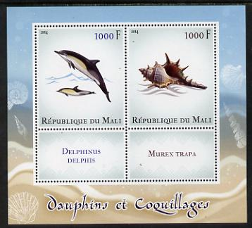 Mali 2014 Dolphins & Shells perf sheetlet containing two values & two labels unmounted mint
