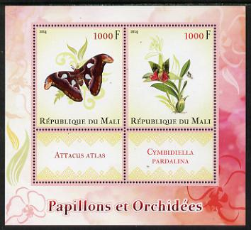 Mali 2014 Butterflies & Orchids perf sheetlet containing two values & two labels unmounted mint