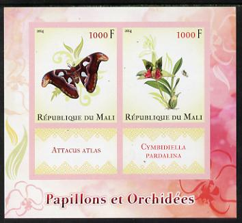 Mali 2014 Butterflies & Orchids imperf sheetlet containing two values & two labels unmounted mint