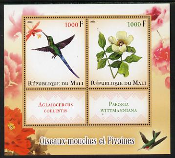 Mali 2014 Hummingbirds & Peonies perf sheetlet containing two values & two labels unmounted mint