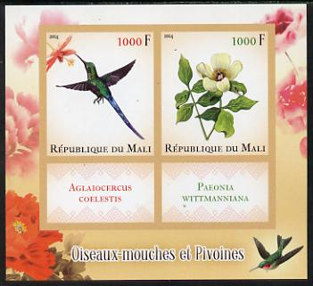 Mali 2014 Hummingbirds & Peonies imperf sheetlet containing two values & two labels unmounted mint