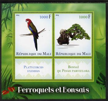 Mali 2014 Parrots & Bonsai perf sheetlet containing two values & two labels unmounted mint